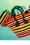 striped bag and purse