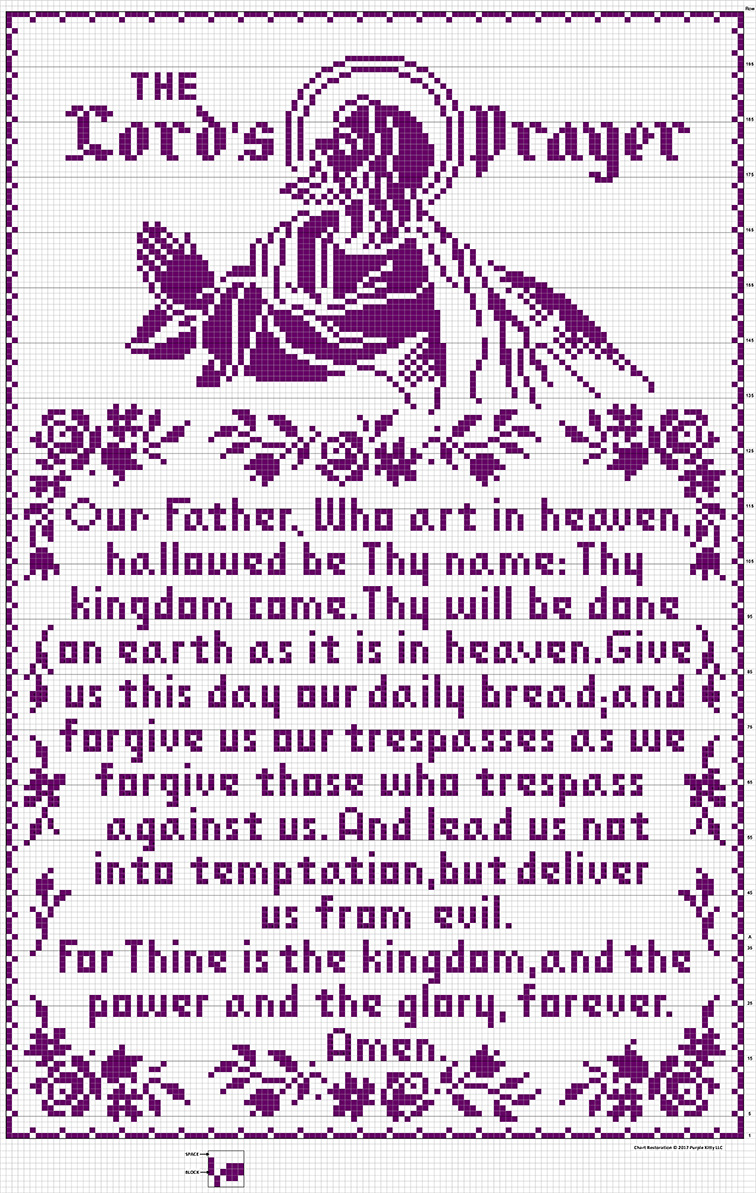 The Lord's Prayer Filet Crochet Wall Panel #703 chart restored