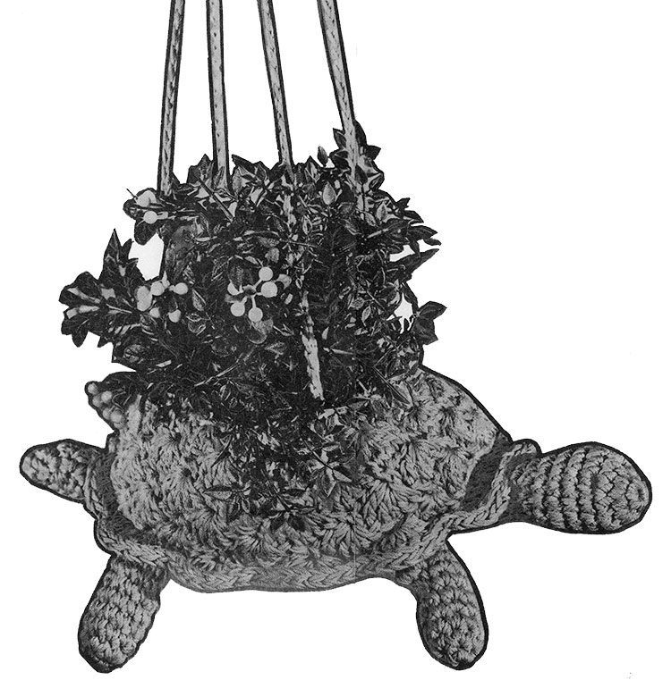 Crocheted Turtle Plant Holder Pattern #677