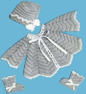 Crochet Baby Set Pattern #106 from Baby Gems, Doreen Knitting #100