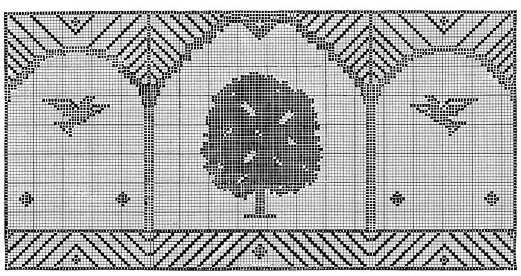 Bird and Tree Chair Set Pattern #7102 chart 1