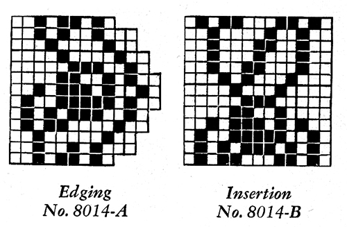 Filet Crochet Edging and Insertion Pattern #8014