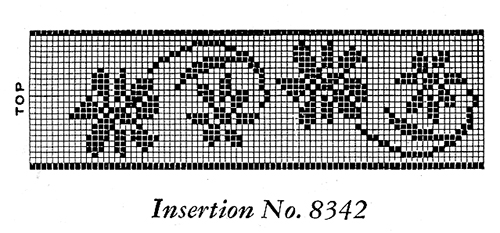 Filet Crochet Insertion Pattern #8342