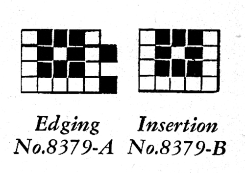 Filet Crochet Edging and Insertion Pattern #8379