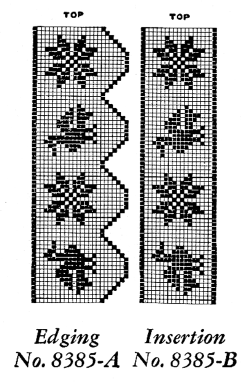 Filet Crochet Edging and Insertion Pattern #8385