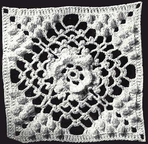 Irish Crochet and Popcorn Bedspread Pattern #60