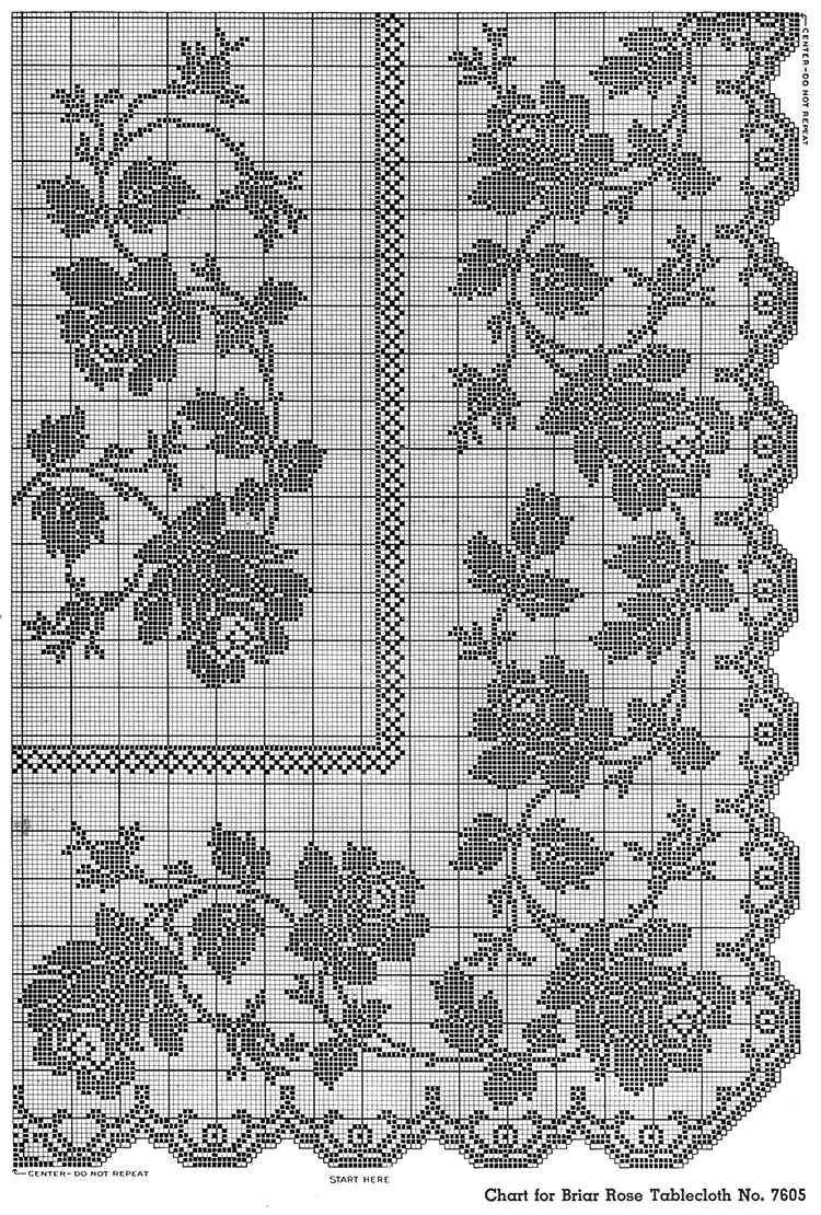 Briar Rose Tablecloth Pattern #7605 chart