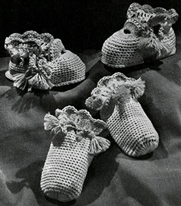 Cap, Bootees, and Mittens Set Pattern #5345