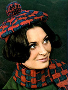 Crochet Beret and Scarf Pattern #2161