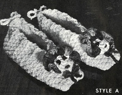 Children's Crocheted Slippers Pattern Style A