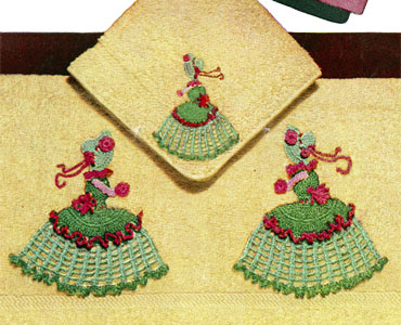 Crinoline Lady Motif Bath Towel & Face Cloth Pattern