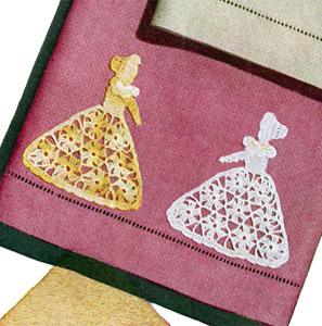 Crinoline Lady Motif Guest Towel Pattern