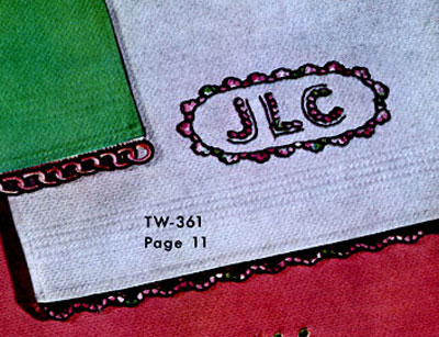 Monogram Guest Towel Decorative Crochet Pattern TW361