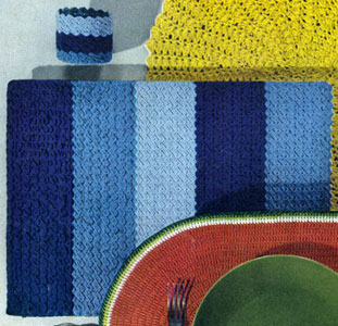 Shaded Stripes Place Mat & Glass Jacket Pattern
