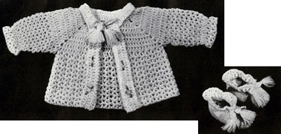 Infant's Crocheted Sacque and Bootees Pattern