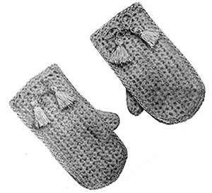 Childs Crochet Mittens Pattern #603