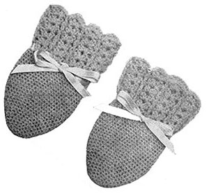 Infants Crochet Mittens Pattern #604