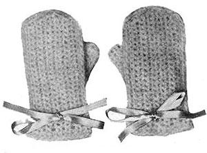 Angora Crochet Mittens Pattern #605