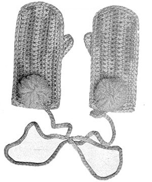 Childs Crochet Mittens Pattern #606
