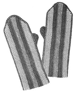Girls Striped Crochet Mittens Pattern #622