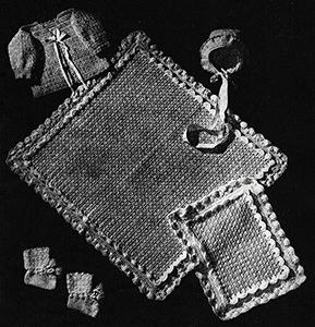 Baby's Six-Piece Crocheted Set Pattern #6014