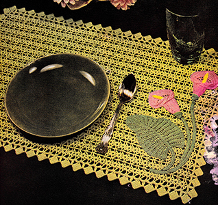 Table Doily in Appliqued Crochet Pattern #7