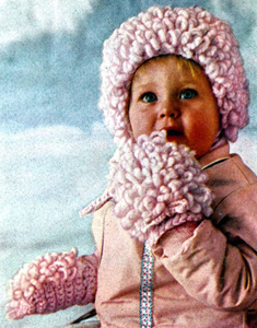 Loop Stitch Cap and Mittens Pattern - Vintage crochet pattern