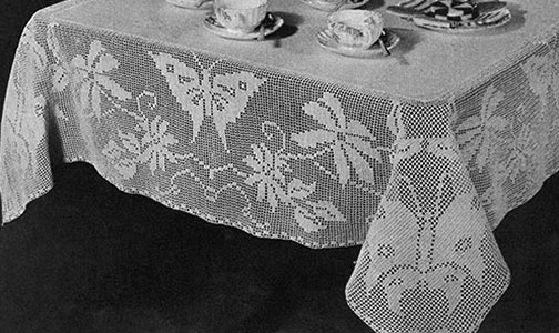Madame Butterfly Tablecloth Pattern #7202