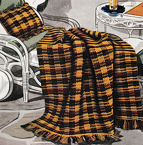 Tartan Afghan and Pillow Pattern #691