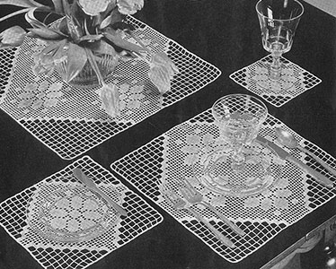 Modern Squares Luncheon Set Pattern #7264
