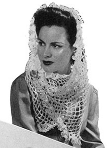 White Crocheted Shawl Pattern #1165
