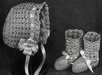 Cap and Booties Pattern #5197