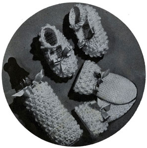 Bottle Cover, Mittens & Bootees No. 5249 - Vintage crochet pattnern