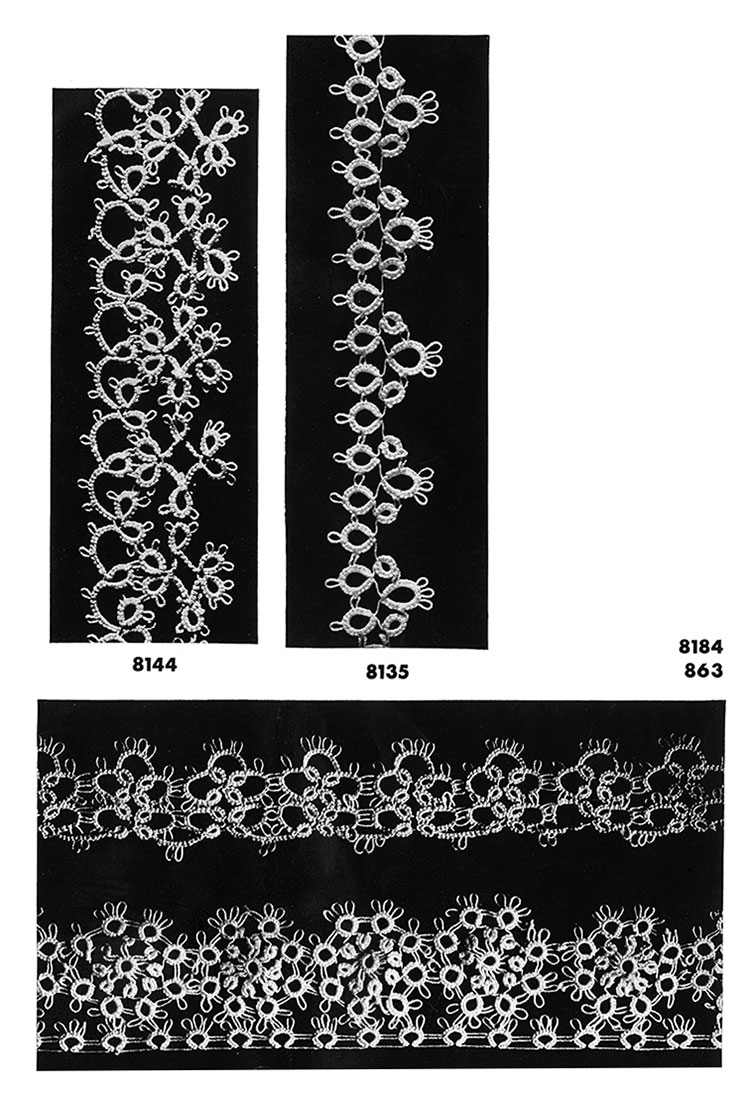 Tatting Edging Patterns #8144, #8135, #8184, #863