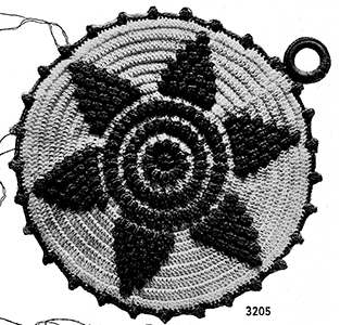 Round Star Flower Potholder Pattern #3205