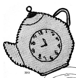 Teapot Clock Potholder Pattern #3213