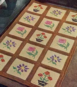The Cream and Brown Embroidered Block Rug Pattern